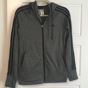 NWOT Dark Heather Gray adidas go-to zip hoodie